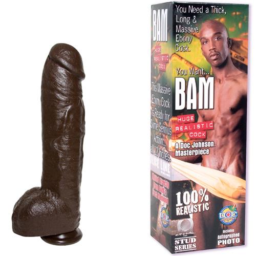 Doc Johnson «Bam Huge Realistic Cock» чернокожий «Бэм» реалистичный член из латекса 37 см, 34513. Купить с доставкой из секс-шопа