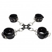 Комплект для бандажа «Leather Hand And Legcuffs Black», Shots Media SH-OU050BLK