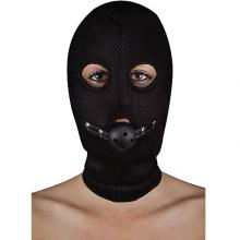 Маска с кляпом «Extreme Mesh Balaclavea with Open Ball Gag», Shots Media SH-OU174BLK