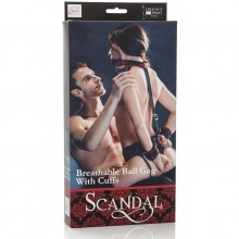 Кляп с наручниками «Scandal Breathable Ball Gag With Cuffs», CalExotics SE-2712-11-3
