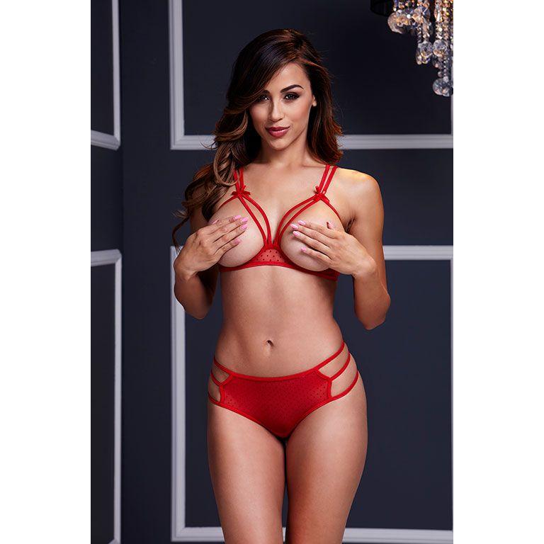 Секси комплект белья с открытой грудью